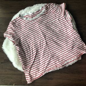 Madewell red and white striped top size XL